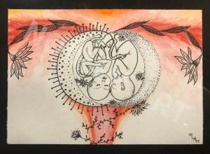 Jumeaux aquarelle mlam noiram in utero Poncet