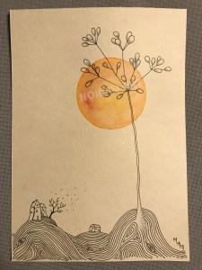 Aquarelle noiram mlam poncet soleil campagne laboure plante maisonnette