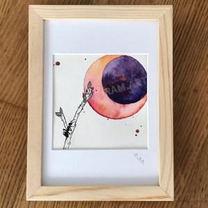 Aquarelle l'insomniaque fourmis bourgeon lune planète plante mlam noiram marion-lorraine poncet