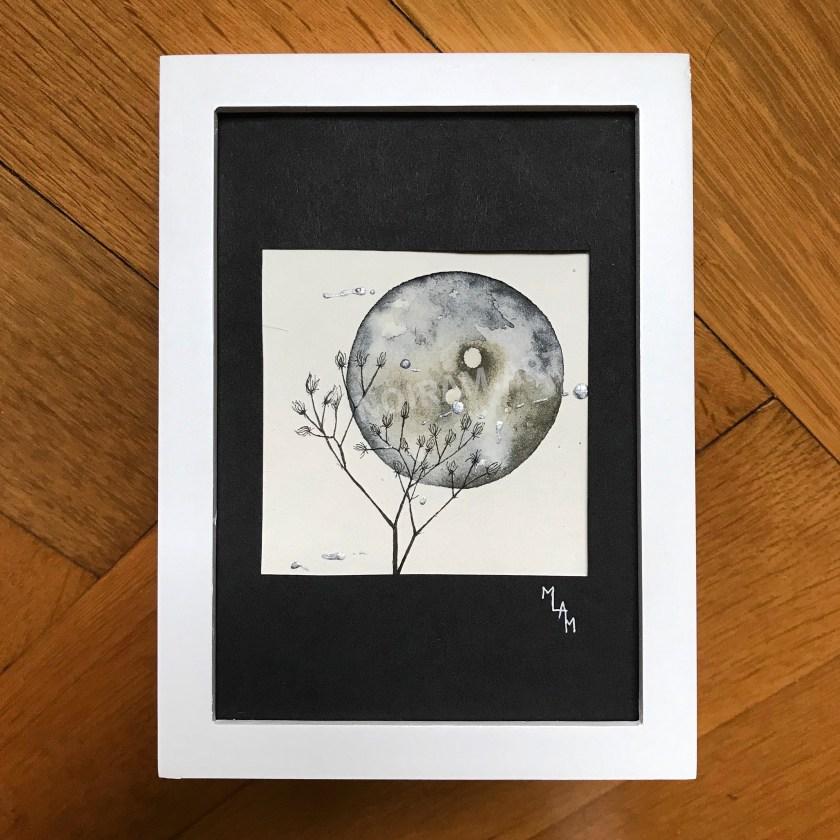 Aquarelle lune noire planète plante mlam noiram marion-lorraine poncet