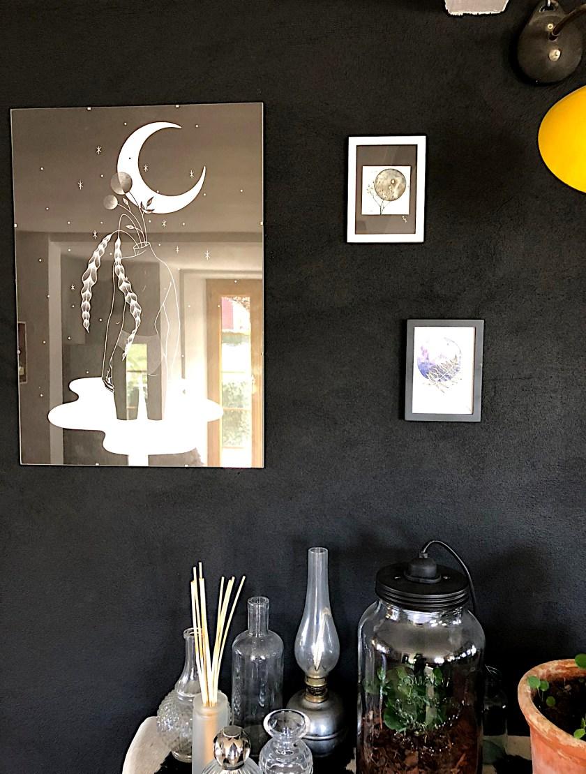 Aquarelle lune noire planète plante la petite fleureuse judski mlam noiram marion-lorraine poncet