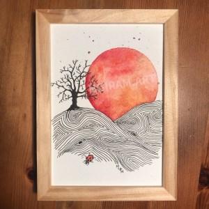 Aquarelle crépuscule arbre coccinelle laboure planète plante mlam noiram marion-lorraine poncet