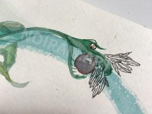 Aquarelle noiram mlam poncet uterus dragon serpent perle ailes