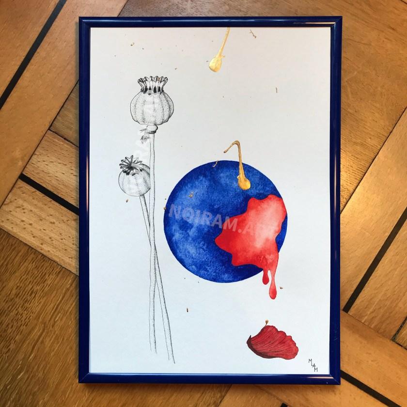 Aquarelle l'enfant ce monstre adultes jean-paul Sartre Pavot pétale dégouline mlam noiram marion-lorraine poncet planète plante