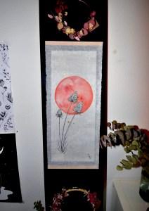 Aquarelle l'élan papier japon mlam noiram marion-lorraine poncet planète plante