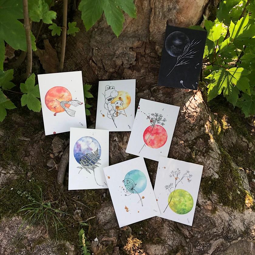 Aquarelle planète plante mlam noiram marion-lorraine poncet carte