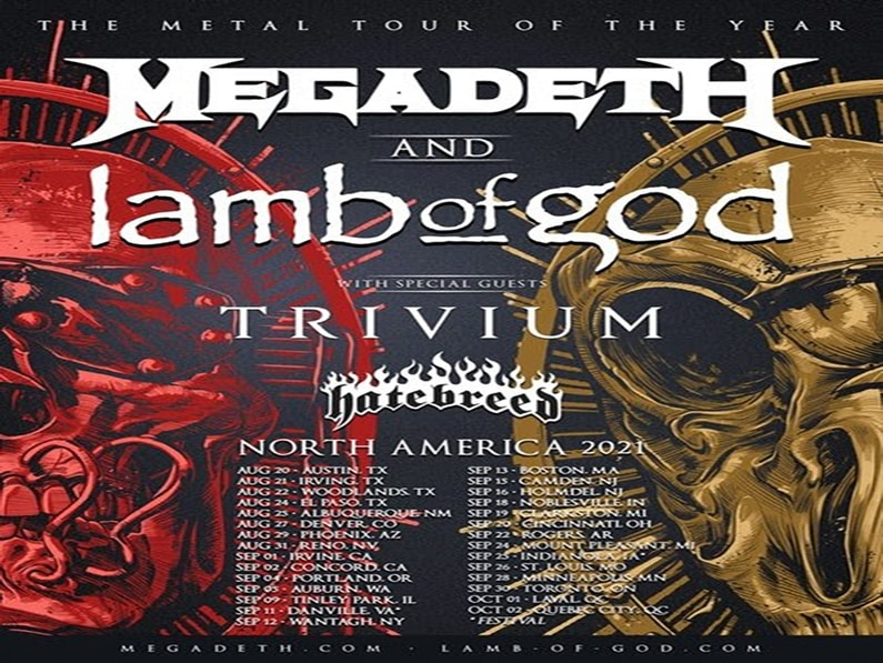 hatebreed,Lamb,God,Lmb of God,Megadeth,tour,