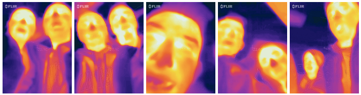 series of images of people with infrared camera