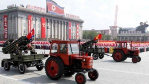 September 9, 2013: Tractors pull artillery through Kim Il Sung Square during a military parade to mark the 65th anniversary of North Korea's founding in Pyongyang. (AP)