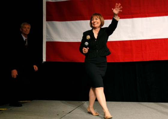 Republican U.S. Senate candidate from Nevada, Sharron Angle, takes the stage at an election night rally in Las Vegas
