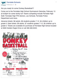 Ferndale Schools February 4, 2016 Facebook post promoting the 02-13-16 donkey basketball event