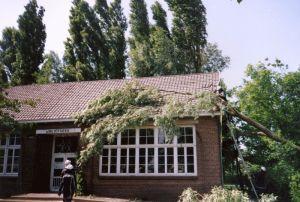 De brandweer verwijdert de boom van het dak van de Bibliotheek.