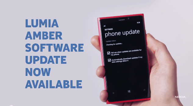 Lumia Amber Windows Phone 8 software update