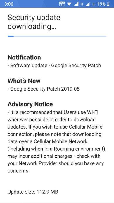 Nokia 6 security update august