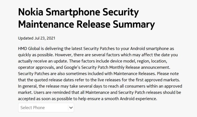 Nokia Mobile official update tracker
