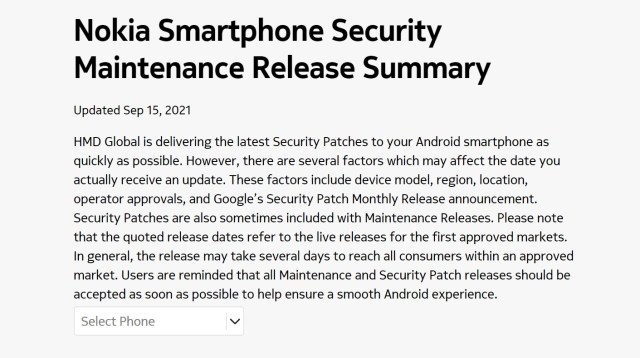 Nokia Mobile update tracker Sep 15