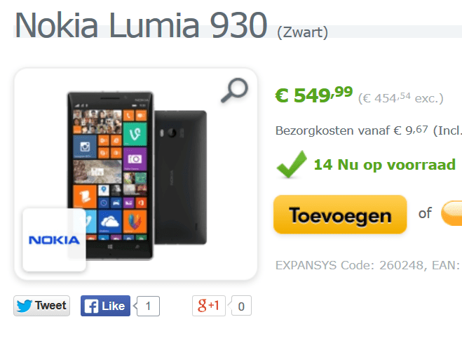 Lumia 930 available expansys