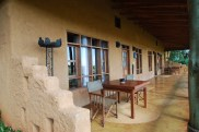 The adjoining front porches of our room and our parents' room at the Ngorongoro Farm House.