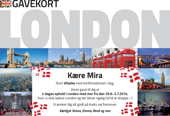 Gavekort tur til London