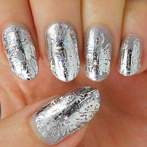 Сребристо метално фолио за нокти