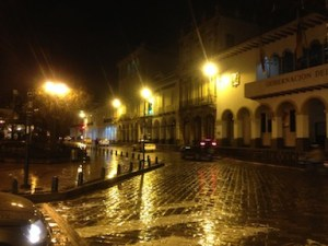 Cuenca on a dark rainy night