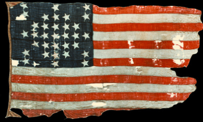 """Storm Flag"" flown over Fort Sumter, 14-April-1861 (NPS image)"