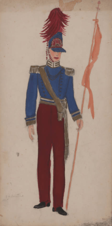 "Costume drawing, watercolor on board, Krewe of Venus, costume for float no. 14, ""Battle of Waterloo--English"" not signed by the artist, dated 1954 on reverse"