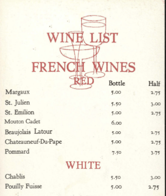 Portion of Elmwood Plantation's wine list.