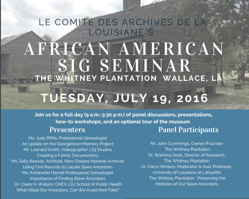 African-American SIG Seminar – Whitney Plantation