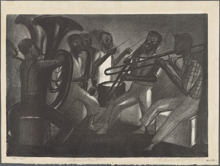 """WPA Rhythm Band"" – art by Elizabeth Olds (via NYPL)"