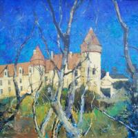 Chateau de Culan   NR4010   30 Figure (36 x 29 inches)   Pierre Neveu   Oil on Canvas   Nolan-Rankin Galleries - Houston
