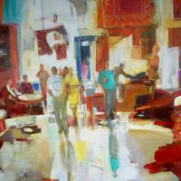 Conchita Conigliano Marche au Tapis NR4021 80 Fig (57.5 in.x 45 in.) Oil on Canvas | Nolan-Rankin Galleries - Houston