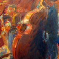 NR3260 Jazz rouge Elisabeth Calmes 90cm x 50cm: 35.5 x 19.75 in. Oil on Canvas | Nolan-Rankin Galleries - Houston