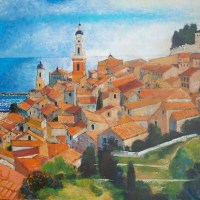 Les Toits de Menton | NR5169 | 50 Figure: 45.75 x 35.125"