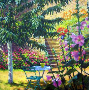 NR5462 Sur la terrasse 70cm x 70cm: 27.559 x 27.559 inches William Michaut | Nolan-Rankin Galleries - Houston