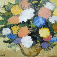 NR5489 Bouquet dore 8 Figure: 18.125 x 14.937 inches Renée THÉOBALD Nolan-Rankin Galleries - Houston