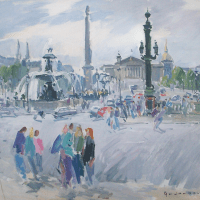 Dimanche matin a la Place de la Concorde | Paul Jean Anderbouhr | Nolan-Rankin Galleries - Houston