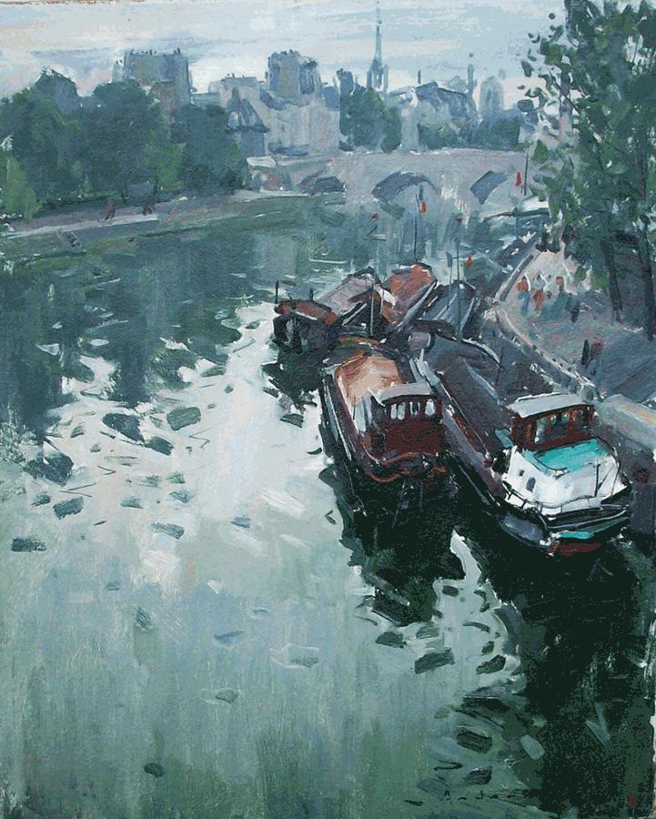 Peniches du Pont des Arts   Paul Jean Anderbouhr   Nolan-Rankin Galleries - Houston