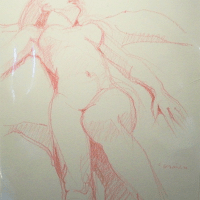 drawing with colored crayon (Nude) | Paul Ambille | Nolan-Rankin Galleries - Houston