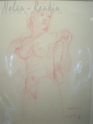 drawing with colored crayon | Nu rose | Paul Ambille | Nolan-Rankin Galleries - Houston