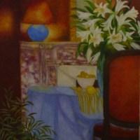 """L'Interieur en Automne NR0487 25 Figure: 31.75"""" x 25.5"""" Christian Dalibert Oil on Canvas"""