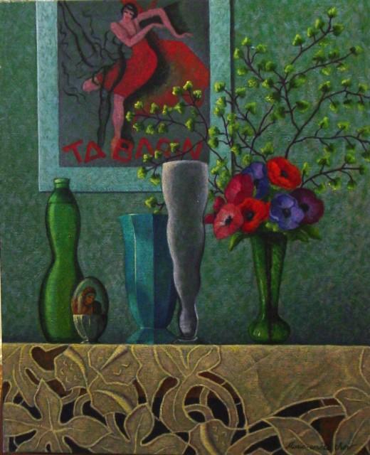 """Nature Morte aux 4 Vases NR1456 20 Figure: 28.75"""" x 23.5"""" Marie-Amelie Choi Oil on Canvas   Nolan-Rankin Galleries - Houston"""