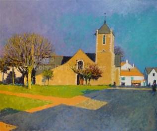 "Eglise de Saint Brevin | NR2483 | 20 Figure: 28.75"" x 23.5"" | Pierre Neveu | Oil on Canvas | Nolan-Rankin Galleries - Houston"