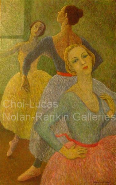 "Les Trois Graces NR3369 60 Marine: 51.25"" x 31.75"" Marie-Amelie Choi Oil on Canvas   Nolan-Rankin Galleries - Houston"