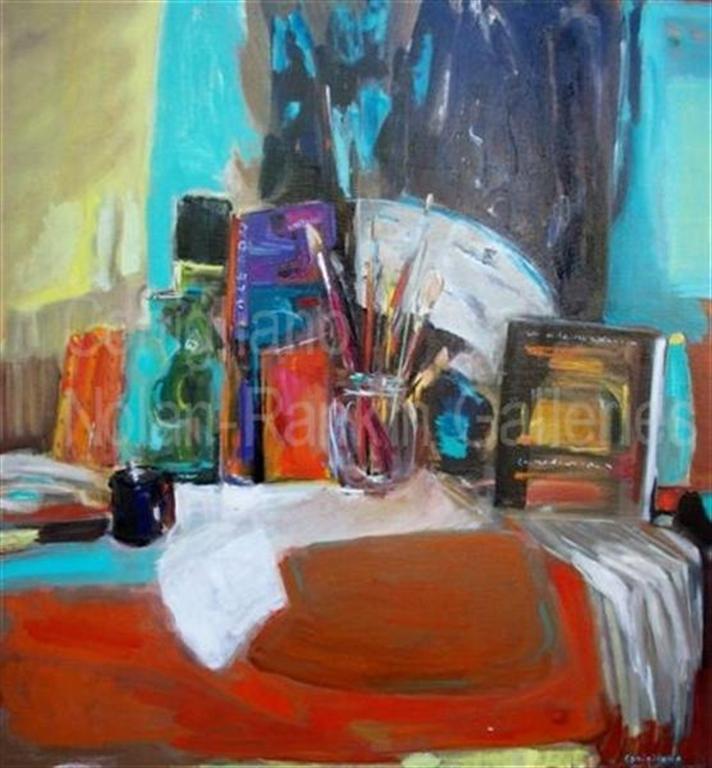 """L'Eventail NR3483 100cm x 100cm: 39.5"""" x 39.5"""" Conchita Conigliano Oil on Canvas   Nolan-Rankin Galleries - Houston"""