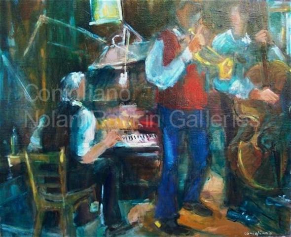 "New Orleans Jazz NR3488 25 Figure: 31.75"" x 25.5"" Conchita Conigliano Oil on Canvas | Nolan- Rankin Galleries - Houston"
