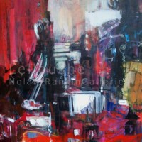 Ambiance de NY Rouge | NR3836 | 100cm x 100cm: 39.5 in. x 39.5 in. | Michele Lellouche | Oil on Canvas | Nolan-Rankin Galleries - Houston