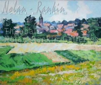 Champs en Alsace NR3862 12 Figure: 24 in. x 19.6875 in. Renee Theobald Oil on Canvas: Palette Knife