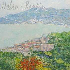 "X2A5 Village au bord de la Mediterranee 80cm x 80cm: 31 7/16"" x 31 7/16"" Renee Theobald Oil on Canvas - Palette Knife"