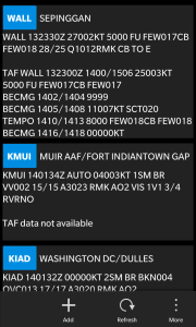 METAR and TAF weather